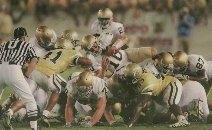 Former Irish quarterback Brady Quinn dives over the line in 14-10 victory over Georgia Tech on Sept. 2, 2006. Now he works to help veterans and their families throughout the country.