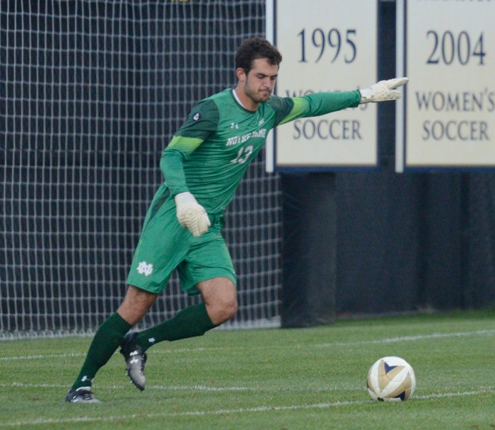 Irish junior goalkeeper Chris Hubbard approaches a goal kick during Notre Dame's 2-0 victory over South Florida on Sept. 4 at Alumni Stadium. Hubbard has yet to allow a goal this season.