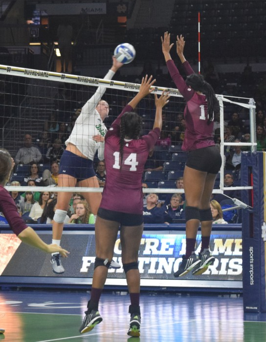 Irish sophomore outside hitter Sydney Kuhn goes for a kill during the Notre Dame win against Mississippi State on Friday.