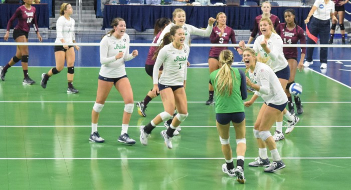 The Irish volleyball team celebrates a win against Mississippi State on Friday at Purcell Pavillion. The team won two of its three matches in the Golden Dome Invitational last weekend.