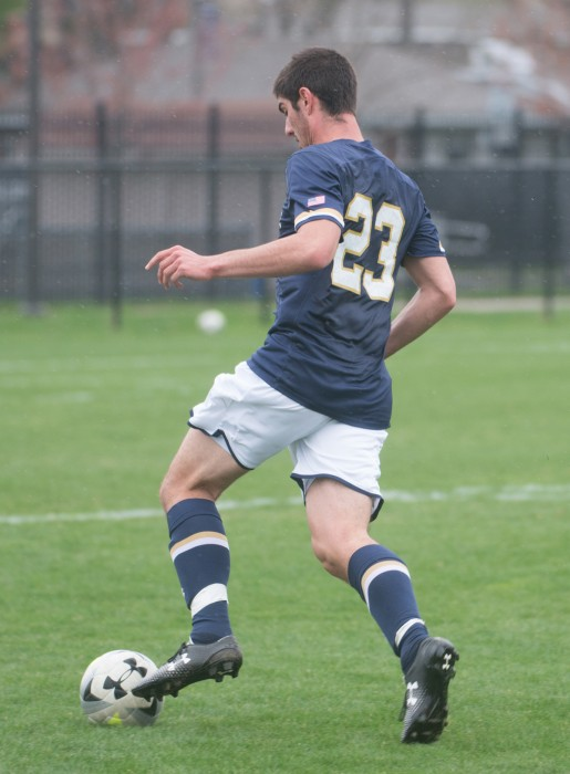 Sophomore forward Jeffrey Farina pushes the ball during a spring exhibition against Valparaiso on April 19 at Old Alumni Field.