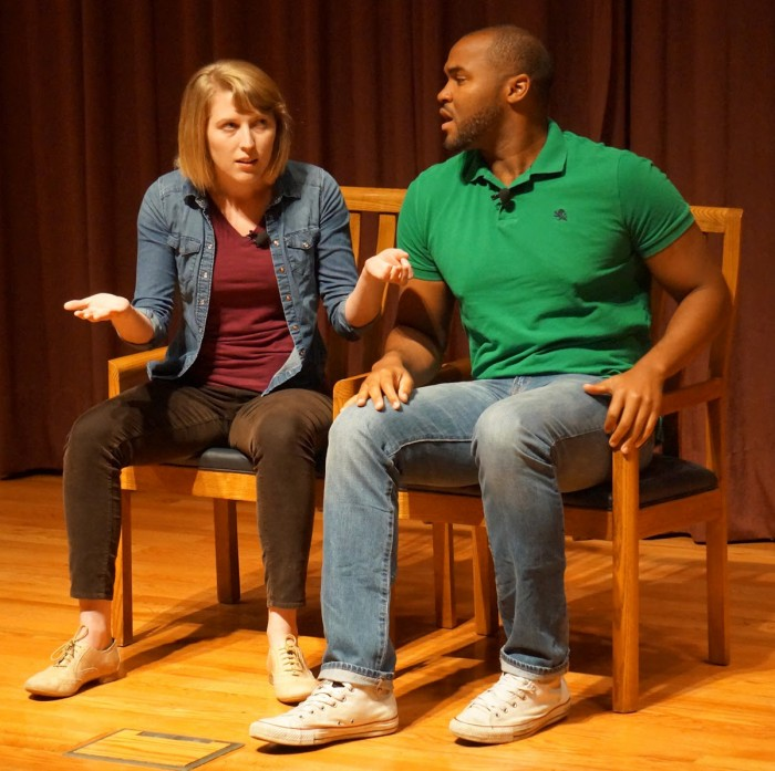 Catharsis Production actors Phillip Sheridan and Anne Dufault use humor to start discussions about sexual assault around campus.