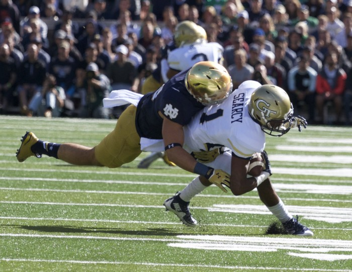 Sophomore safety Drue Tranquill  makes a tackle in a 30-22  win against Georgia Tech on Saturday at Notre Dame Stadium.