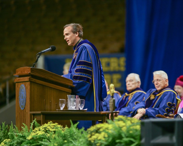 Sept. 23, 2005; Rev. John Jenkins, C.S.C. gives remarks after his inauguration as President of the University of Notre Dame. (Photo by Matt Cashore)