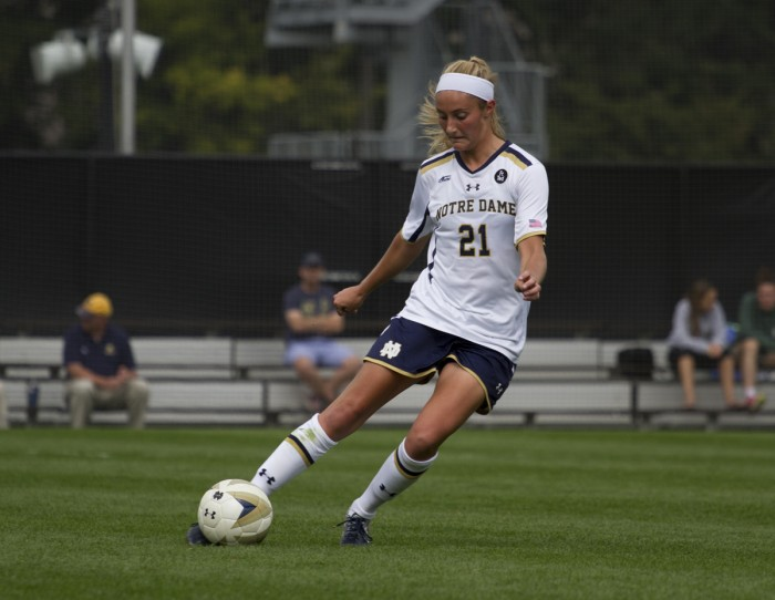 Irish senior defender Brittany Von Rueden looks to pass during a 1-0 loss against Florida State on Sunday at Alumni Stadium.  Von Rueden played all 90 minutes in Notre Dame's loss, its second in ACC play.