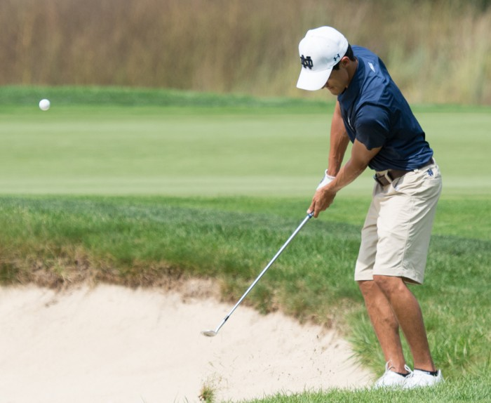 Irish senior Zach Toste follows through on a shot during the Notre Dame Kickoff Challenge on Aug. 31, 2014 at Warren Golf Course. Toste finised the day 17th overall while his Irish team won the event.