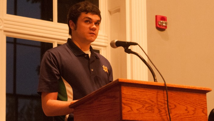 "Sophomore Brendan Coughlan discusses the devastating consequences of mental illness and possible solutions to alleviate the stigma surrounding it at ""In Our Own Words"" for Mental Illness Awareness Week."