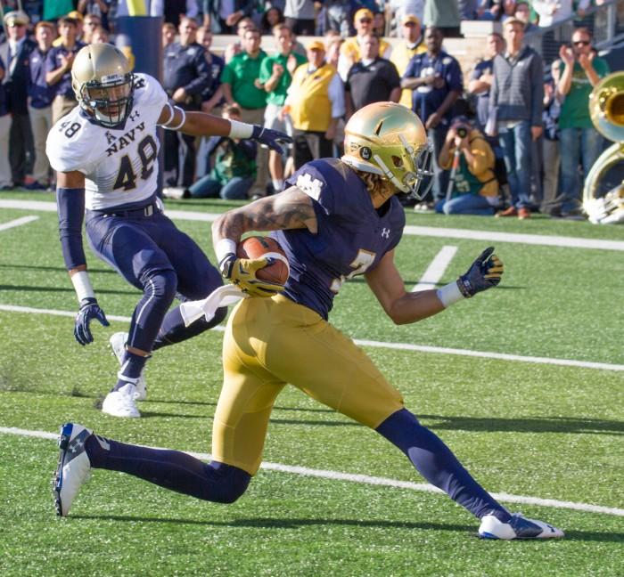 Irish junior receiver Will Fuller cuts toward the end zone for an eventual touchdown Saturday.
