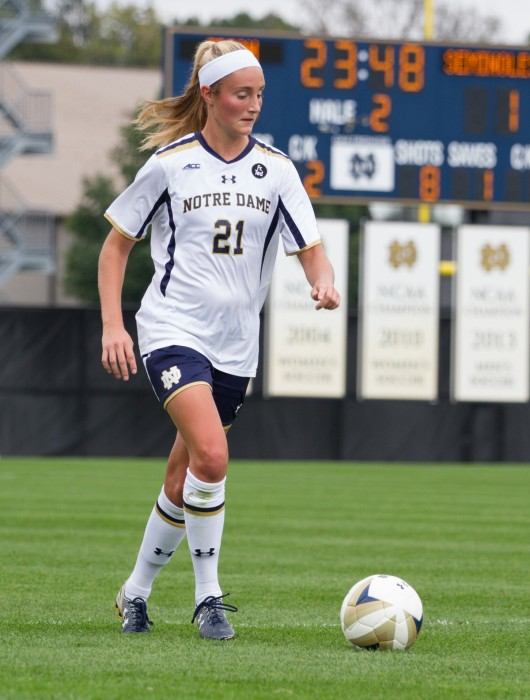 Senior defender Brittany Von Rueden moves the ball forward during a 1-0 loss to Florida State at Alumni Stadium on Sept. 27.