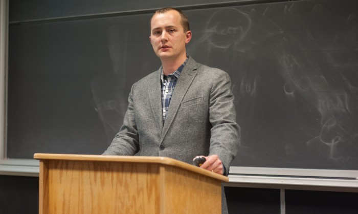 Jeffery Luppes, assistant professor of German at Indiana University South Bend, delivers a lecture in  DeBartolo Hall on German wartime suffering and the experiences of German evacuees after the war.