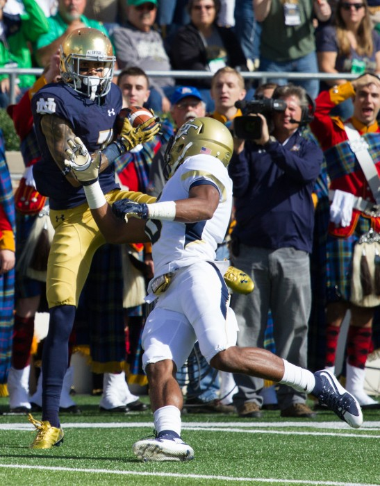 Fuller hauls in a touchdown during Notre Dame's 30-22 win over Georgia Tech on Sept. 19.