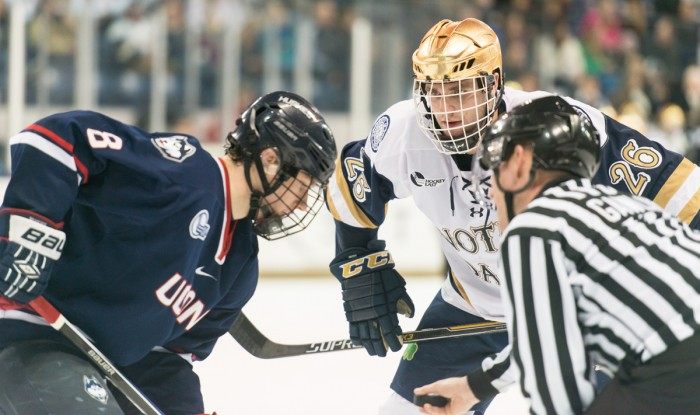 Senior center and team captian Steven Fogarty readies for a faceoff during a 3-3 tie against Hockey East foe Uconn on Jan. 16 at Compton Family Ice Arena. The team will skate with Uconn again this weekend.
