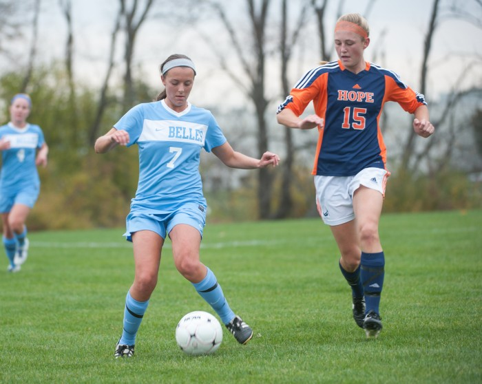 Belles junior midfielder Kate Vasile dribbles the ball during Saint Mary's 3-1 loss against Hope on Tuesday at Junior Irish Airport Fields.