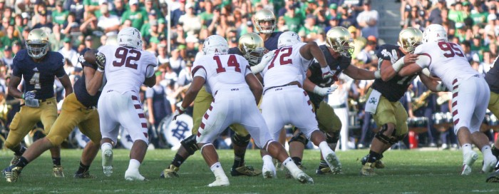 The Temple defense tries to stop Notre Dame during the teams' meeting Aug. 31, 2013, a 28-6 Irish victory. The Owls have raced out to a 7-0 start this season behind one of the  nation's best defensive units; Temple is allowing just 14.6 points per game this season, eighth-best in the country, and 308 yards per game.