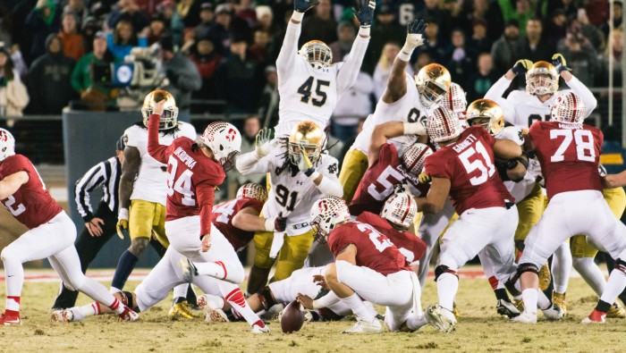 Cardinal senior kicker Conrad Ukropina kicks the game-winning 45-yard field goal to lift Stanford over Notre Dame, 38-36, at Stanford Stadium on Saturday. Irish sophomore quarterback DeShone Kizer led an 88-yard touchdown drive to put the Irish ahead with 30 seconds left before Ukropina's right leg kicked Notre Dame out of playoff contention.