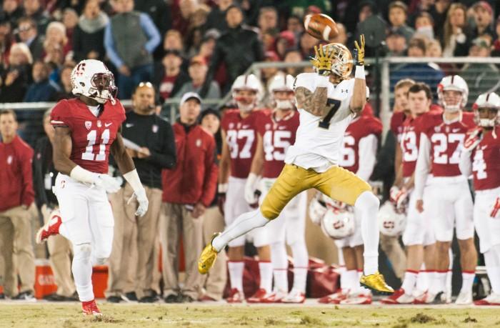 Irish junior receiver Will Fuller catches his 73-yard touchdown reception Saturday at Stanford.