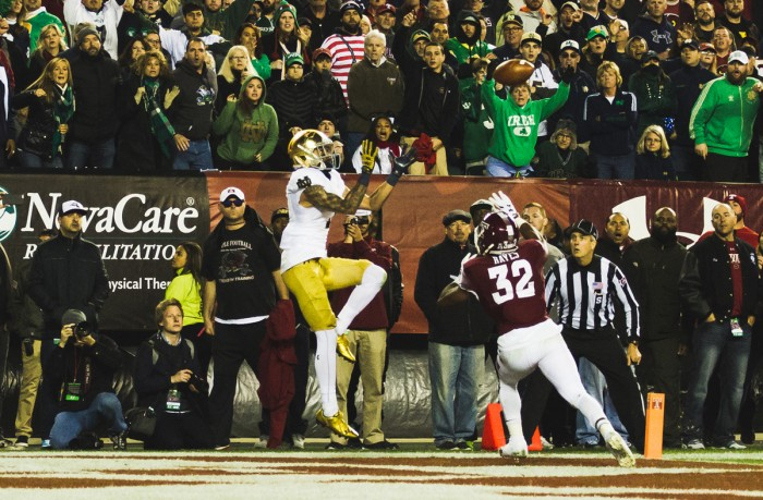 Irish junior receiver Will Fuller jumps to catch the game-winning touchdown pass with 2:09 left in Notre Dame's 24-20 win over Temple on Saturday at Lincoln Financial Field in Philadelphia.