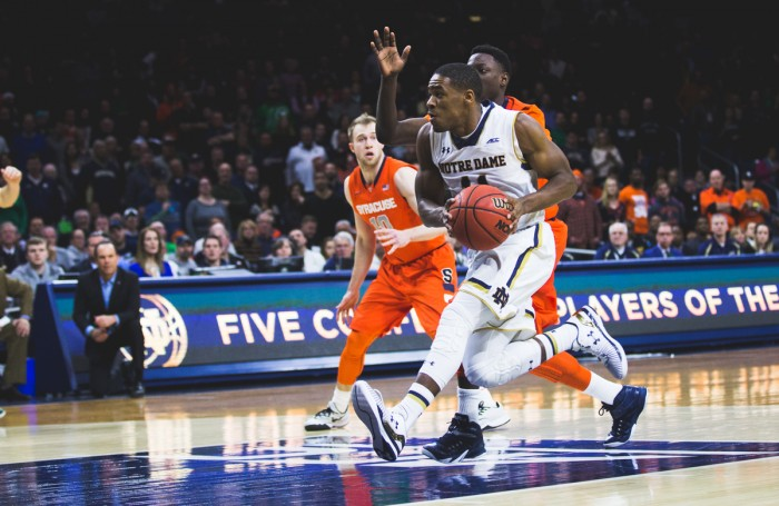 Junior guard Demetrius Jackson drives to the basket during Notre Dame's 65-60 loss to Syracuse on Feb. 25 at Purcell Pavilion.