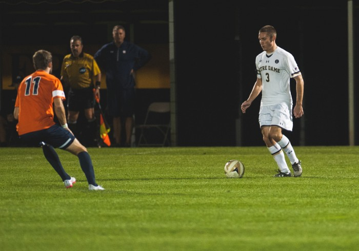 Senior midfielder Connor Klekota looks to pass during Notre Dame's 3-1 victory over Virginia on Sept. 25 at Alumni Stadium.