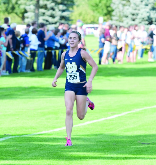 Senior Molly Seidel runs towards the finish line during the National Catholic Championships on Sept. 19, 2014.