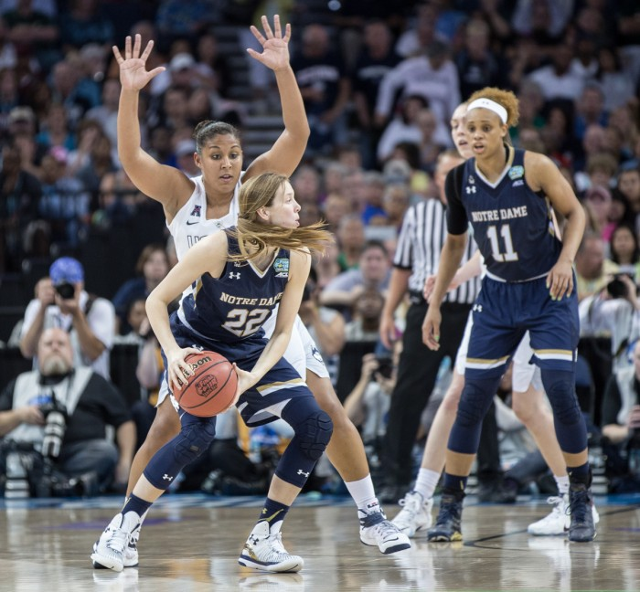 Graduate student guard Madison Cable looks to pass during Notre Dame's 63-53 loss to Connecticut in the NCAA championship game in Tampa, Florida on April 7. Cable scored 12 points in Saturday's win.
