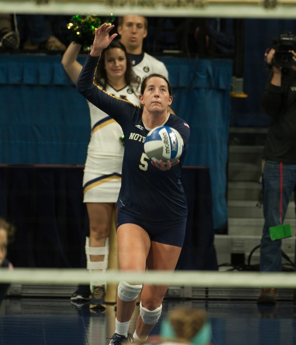 Sophomore outside hitter Sydney Kuhn prepares to serve during a 3-0 loss to Pittsburgh at Purcell Pavilion on Sunday.