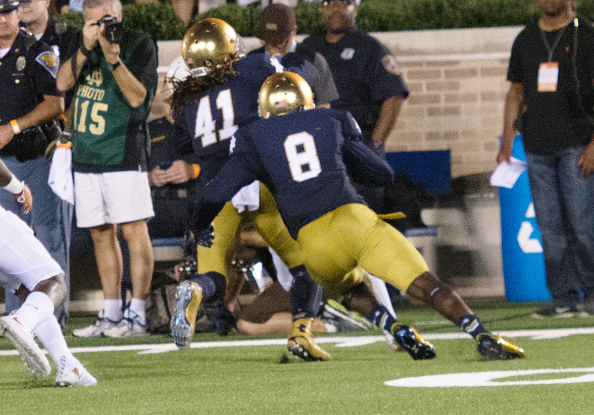 Sebastian 20150905, 201509056, Avery Sebastian, Chris Collins, Football, Football 2015, Longhorns, Notre Dame Stadium, vs. Texas