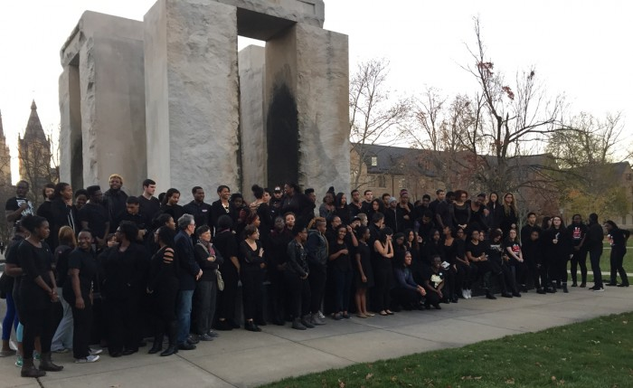 Students gathered around Clarke Memorial Fountain on Sunday afternoon to stand in solidarity with students at Mizzou.