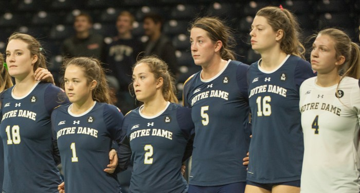 Freshman middle blocker Meg Morningstar stands with her teammates after a 3-0 loss to Pittsburgh at Purcell Pavilion on Nov. 8.