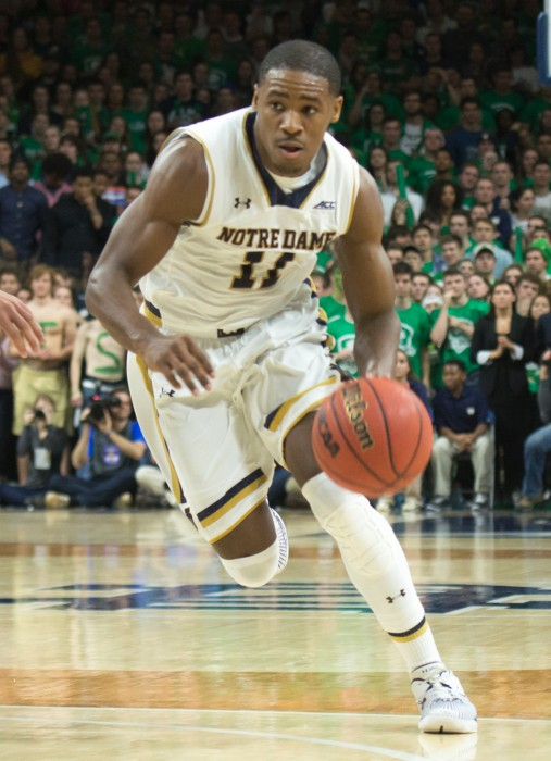 Junior guard and captain Demetrius Jackson drives toward the basket during Notre Dame's 77-73 victory over Duke on Jan. 28 at Purcell Pavilion.