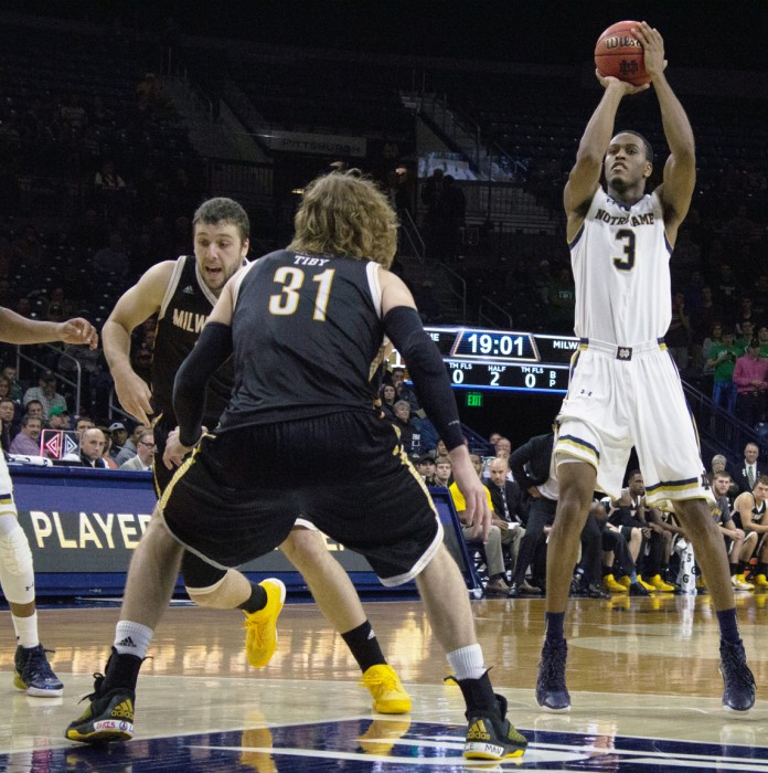 Junior forward V.J. Beachem shoots during Notre Dame's 86-78  victory over Milwaukee on Tuesday at Purcell Pavilion.