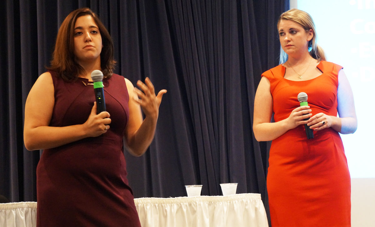 "Sexual assault activists Andrea Pino, left, and Annie Clark, who were featured in ""The Hunting Ground,"" speak at a Sept. 11 event at Legends. The film explores 'rape culture' that students still try to understand and fight."