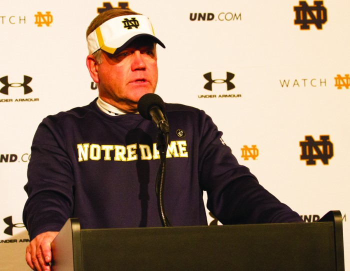 Irish head coach Brian Kelly addresses the media following Notre Dame's 24-20 win against Temple at Lincoln Financial Field in Philadelphia on Oct. 31. Kelly returns home to Massachusetts this weekend.