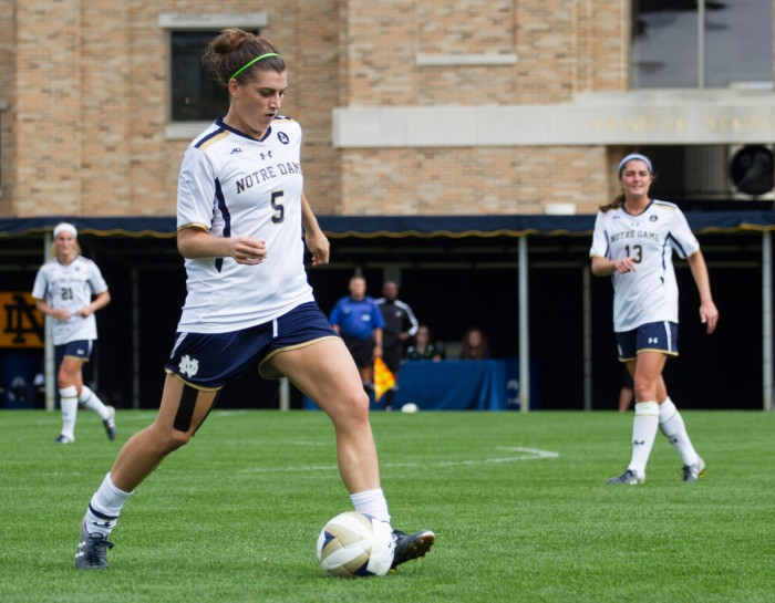 Senior defender Cari Roccaro winds up a pass during a 1-0 loss to Florida State on Sept. 27 at Alumni Stadium.