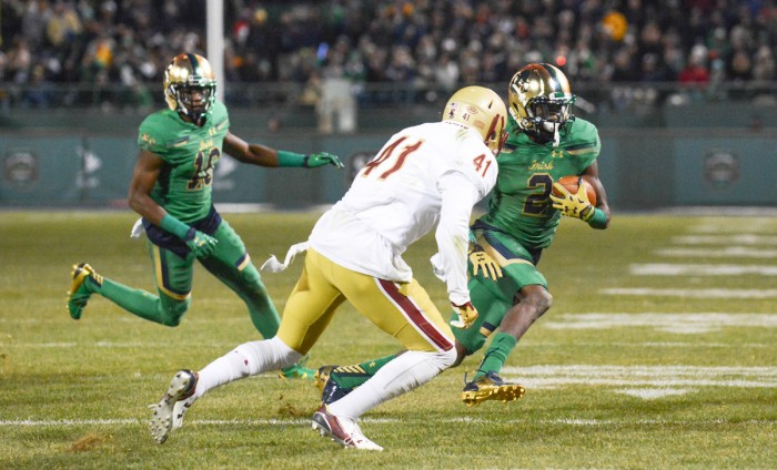Irish senior receiver Chris Brown looks to avoid a Boston College tackler during Notre Dame's 19-16 victory over the Eagles on Saturday. Brown finished with six receptions for a career-high 104 yards.