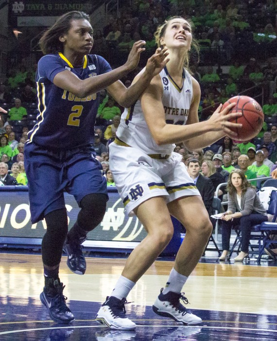 Irish sophomore forward Kathryn Westbeld looks toward the basket during Notre Dame's 4-39 win over Toledo at Purcell Pavilion on Nov. 18.