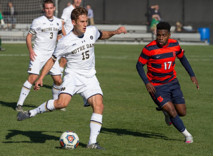 Senior midfielder Evan Panken looks to pass during Notre Dame's 1-0 loss to Syracuse on Nov. 15 at Alumni Stadium. Panken had one assist in Saturday's loss to Maryland.