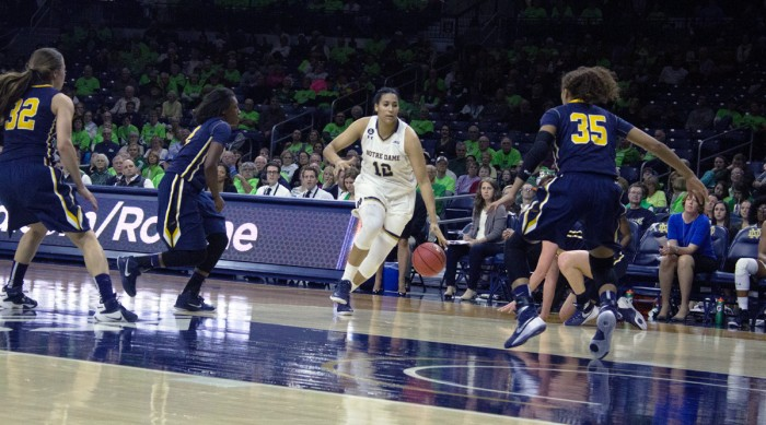 Irish junior forward Tara Reimer attacks the basket during Notre Dame's 74-39 win over Toledo on Nov. 18 at Purcell Pavilion.