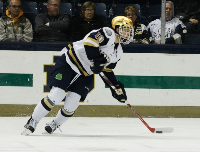 Irish sophomore left wing Anders Bjork carries the puck during Notre Dame's 3-2 win over Northeastern on Nov. 12 at Compton Family Ice Arena. Notre Dame took 15 penalties in two games last weekend.