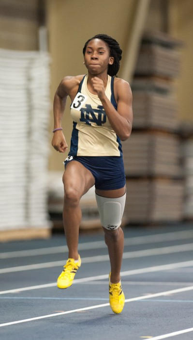 Senior sprinter Margaret Bamgbose competes during the Notre Dame Invitational at Loftus Sports Center on Jan. 25, 2014.