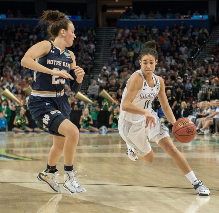 Senior guard Michela Mabrey attempts to defend an oncoming UConn player during Notre Dame's 63-53 loss to UConn on April 7. Mabrey scored a total of 11 points in the loss on Saturday.