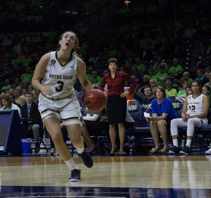 Freshman guard Marina Mabrey looks to shoot during Notre Dame's 74-39 victory over Toledo on Nov. 18 at Purcell Pavilion.