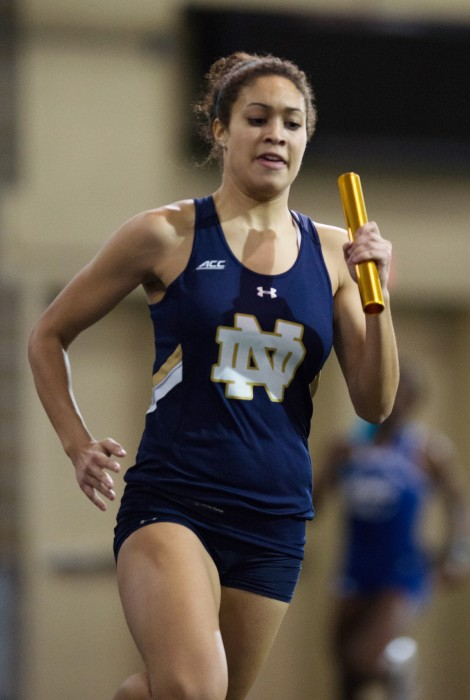 Sophomore Jordan Snead competes during the Notre Dame Invitational at Loftus Sports Center on Jan. 24. Snead won the 400-meter dash with a time of  56.39 seconds on Friday at home.