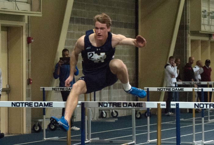 Sophomore Hunter Holton competes in the Notre Dame Invitational on Jan. 24 at Loftus Sports Center. Holton won the men's high jump in Friday's Blue and Gold Invitational at home.