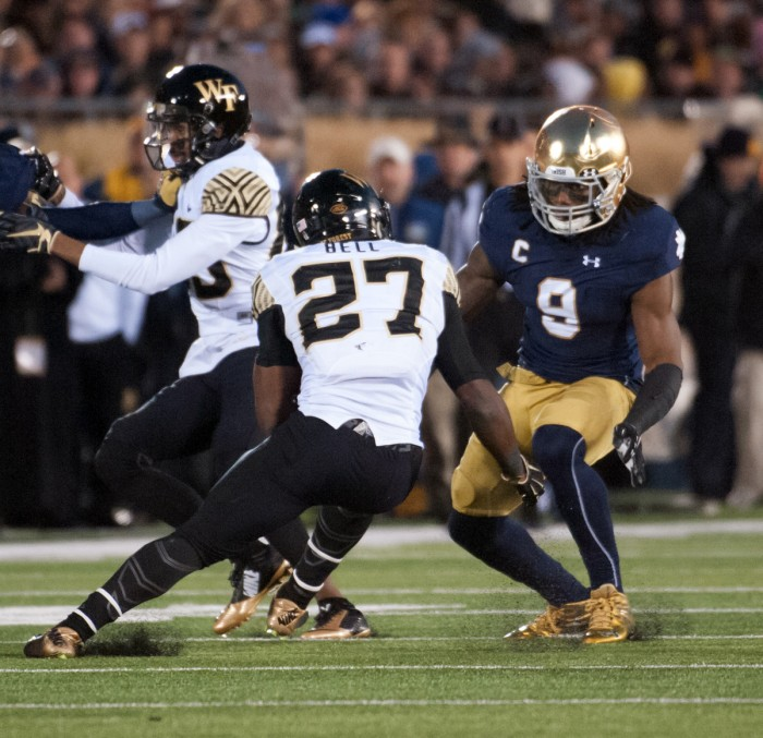 Former Irish linebacker Jaylon Smith attempts to tackle Wake Forest running back during Notre Dame's victory over the Demon Deacons on at Notre Dame Stadium.