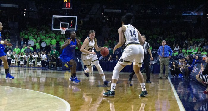 Graduate student guard Madison Cable pushes the ball upcourt past a DePaul defender during Notre Dame's 95-90 victory over the Blue Demons on Wednesday night at Purcell Pavilion. Cable led the Irish with 21 points.