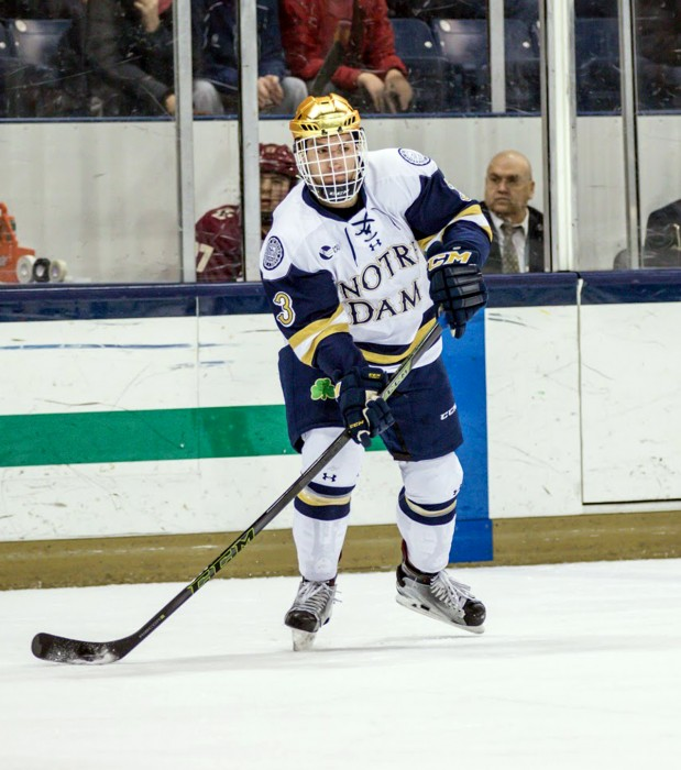 Irish sophomore Jordan Gross awaits a pass on the power play during Notre Dame's 4-0 loss to Boston College on Friday night.