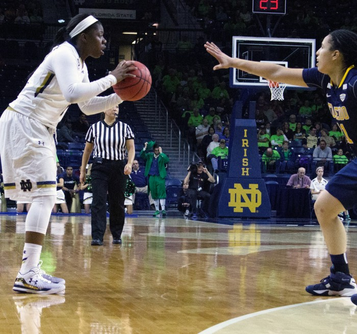 Freshman guard Arike Ogunbowale surveys the action during Notre Dame's 74-39 victory over Toledo on Nov. 18 at Purcell Pavilion. Ogunbowale had nine points and six rebounds in the win.