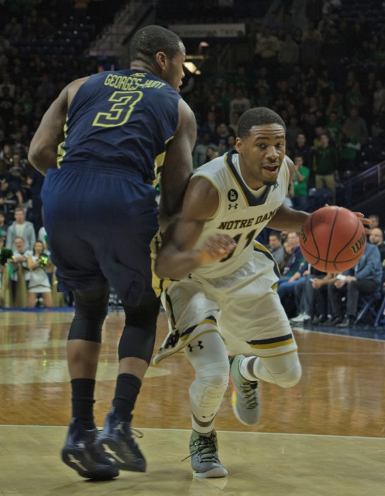 Irish junior guard Demetrius Jackson drives during Notre Dame's 72-64 win over Georgia Tech at Purcell Pavilion on Wednesday.