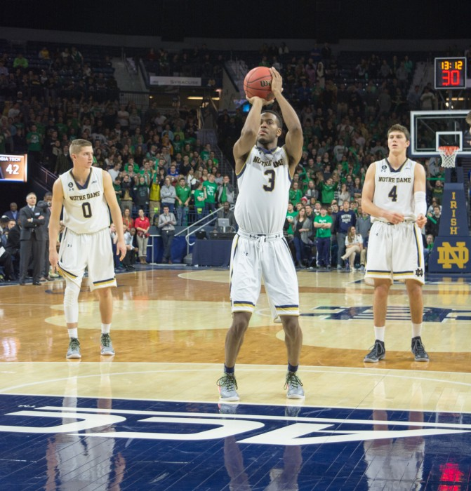 Irish junior forward V.J Beachem shoots a free throw during Notre Dame's 72-65 win over Georgia Tech on Jan. 13 at Purcell Pavilion. Beachem scored six points, including a three-pointer for the Irish.